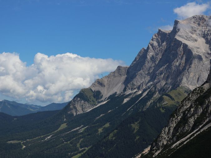 That view, with the cable car to the Zugspitze at the far end of the mountain range